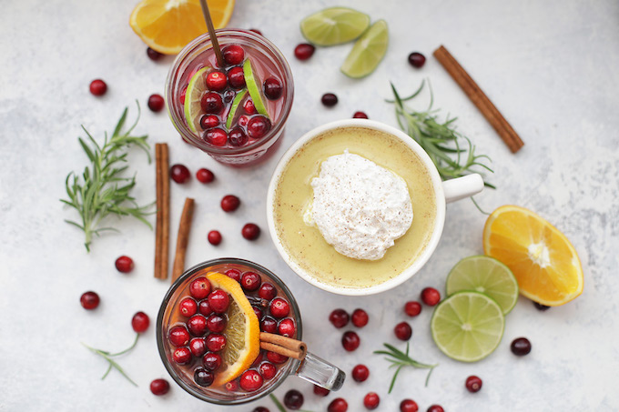 3 Healthy Holiday Drinks! These holiday classics each have a secret superfood boost. Check out our Cranberry Lime Spritzer, Golden Milk Nog, and Superfood Christmas Wassail!