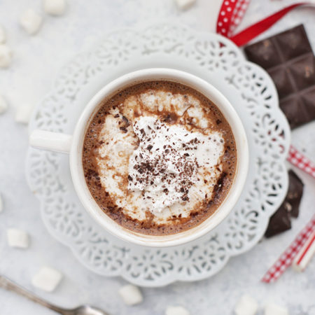 Pour yourself a cherry cup of Vegan Hot Chocolate! It's dairy free and uses natural sweeteners. You'll love it!