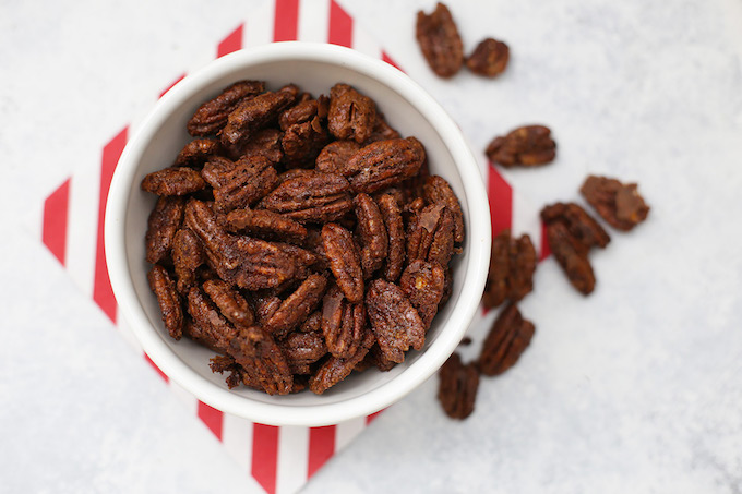 Candied Pecans made cleaner! These naturally sweetened candied pecans are the perfect gift or party food this season!
