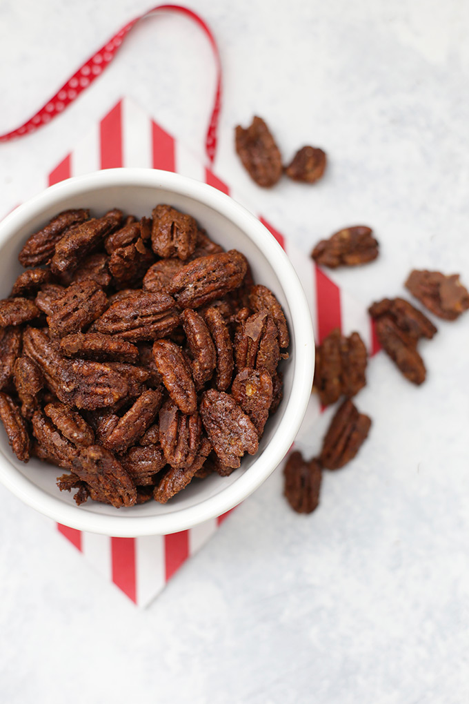 The BEST Candied Pecans! We set these out to much on, give them as gifts, or toss them into salads. So good!