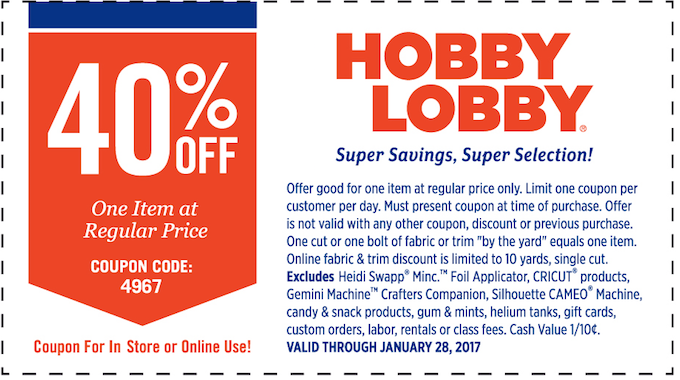 Get 40% off any full-price item at Hobby Lobby!