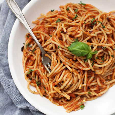 This Simple Arrabbiata Sauce is such an easy dinner idea! You probably have all the ingredients in your pantry right now!