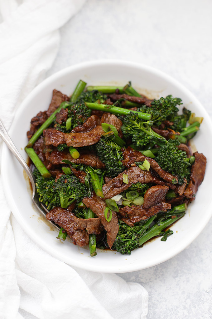 Simple, savory, HEALTHY Beef and Broccoli. This is a lighter take on the takeout fave, with all that amazing flavor!