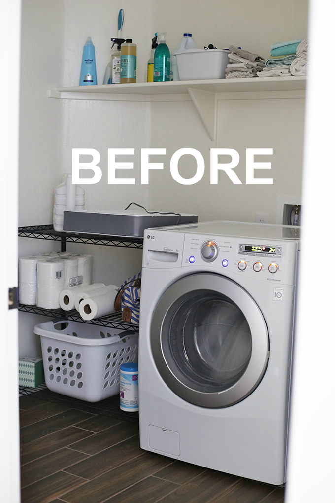 Our laundry room was the catch-all room of the house without any real organization. We gave it a fresh, crisp makeover and it looks SO much better. Click through for the after photos!