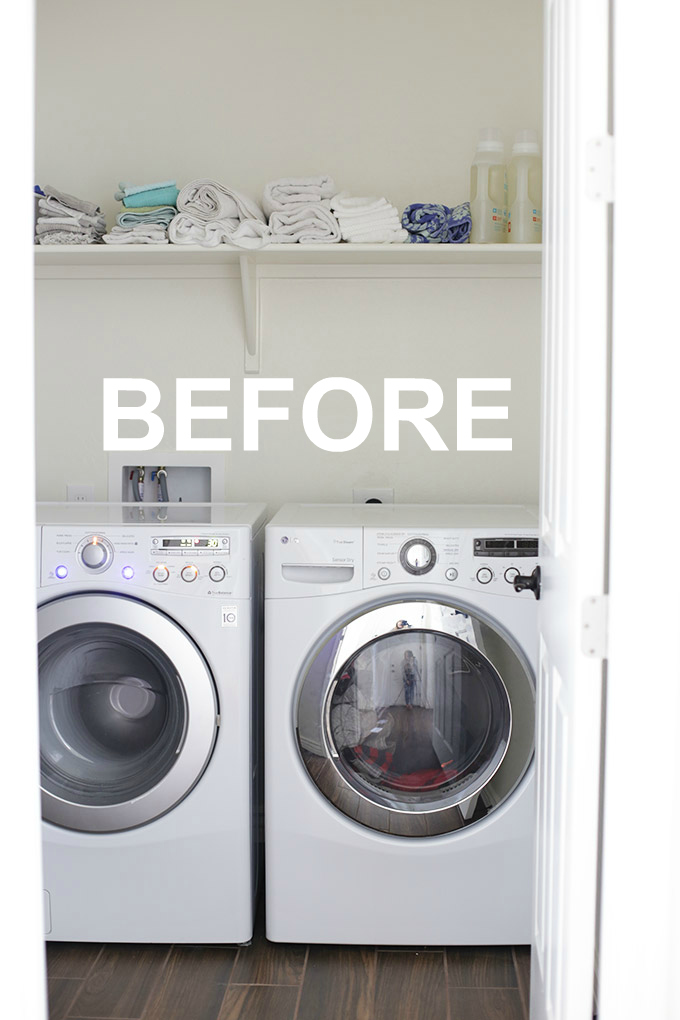 Our laundry room was so boring and basic. See how we got things looking crisp, clean and organized with Hobby Lobby!