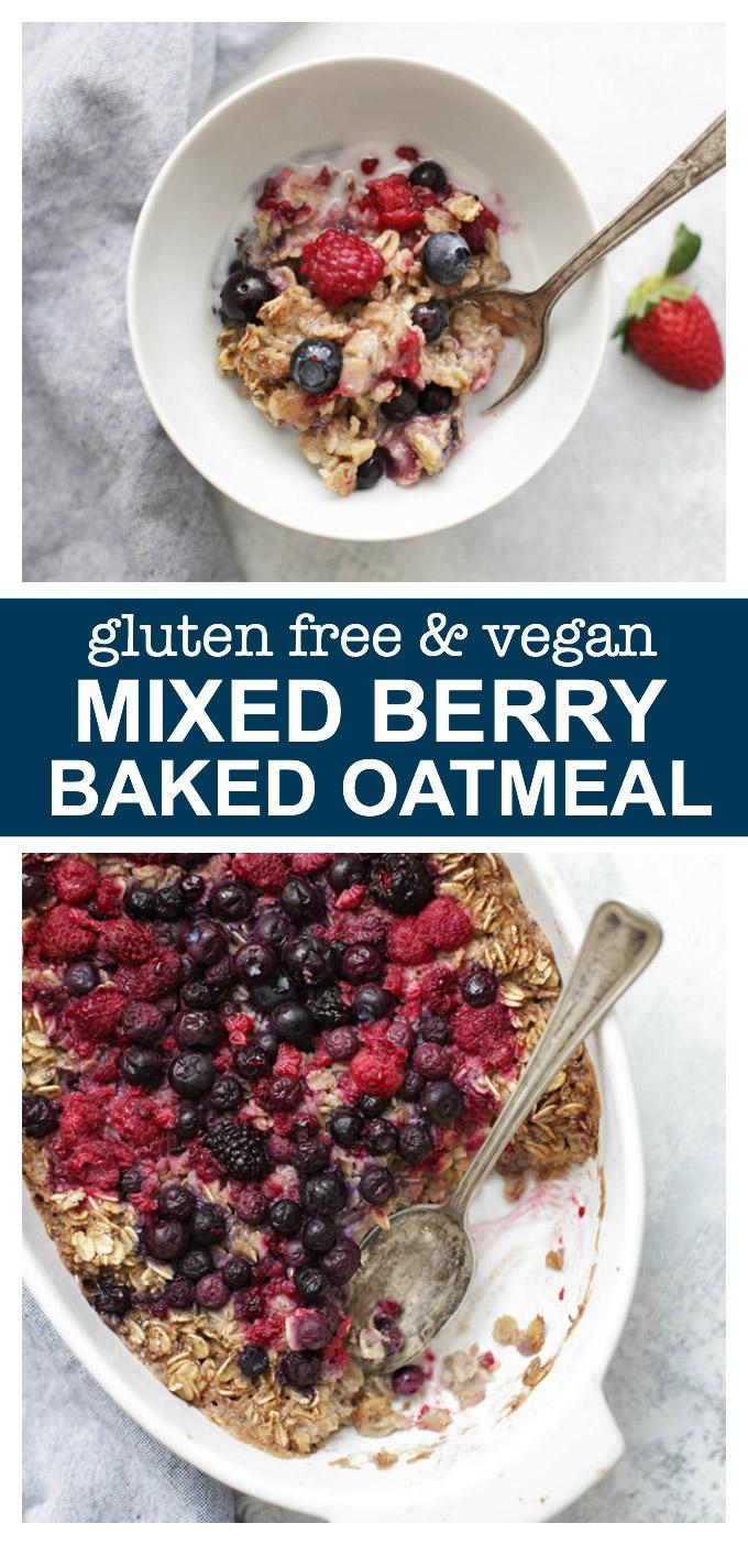Gluten free, vegan Mixed Berry Baked Oatmeal. It's almost like eating fruit crisp for breakfast!
