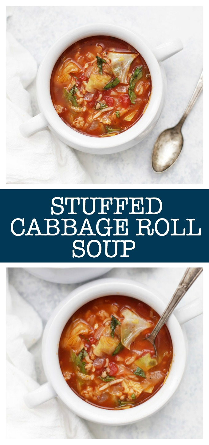 Cabbage Roll Soup - This healthy soup is savory and filling. Stuffed with goodies and loaded with flavor, it's perfect for a chilly day!