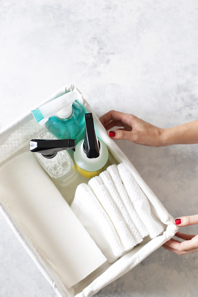 Putting all my cleaning supplies in a pretty basket (from Hobby Lobby) looks so crisp and is functional. I love that everything is in one place and is so easy to grab and go.