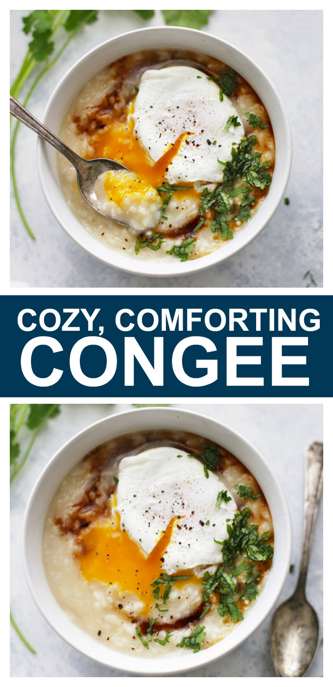Congee - This cozy comfort food is perfect for chilly weather, cleaning out the fridge, or fighting a cold. Gluten free chicken soup at its finest!