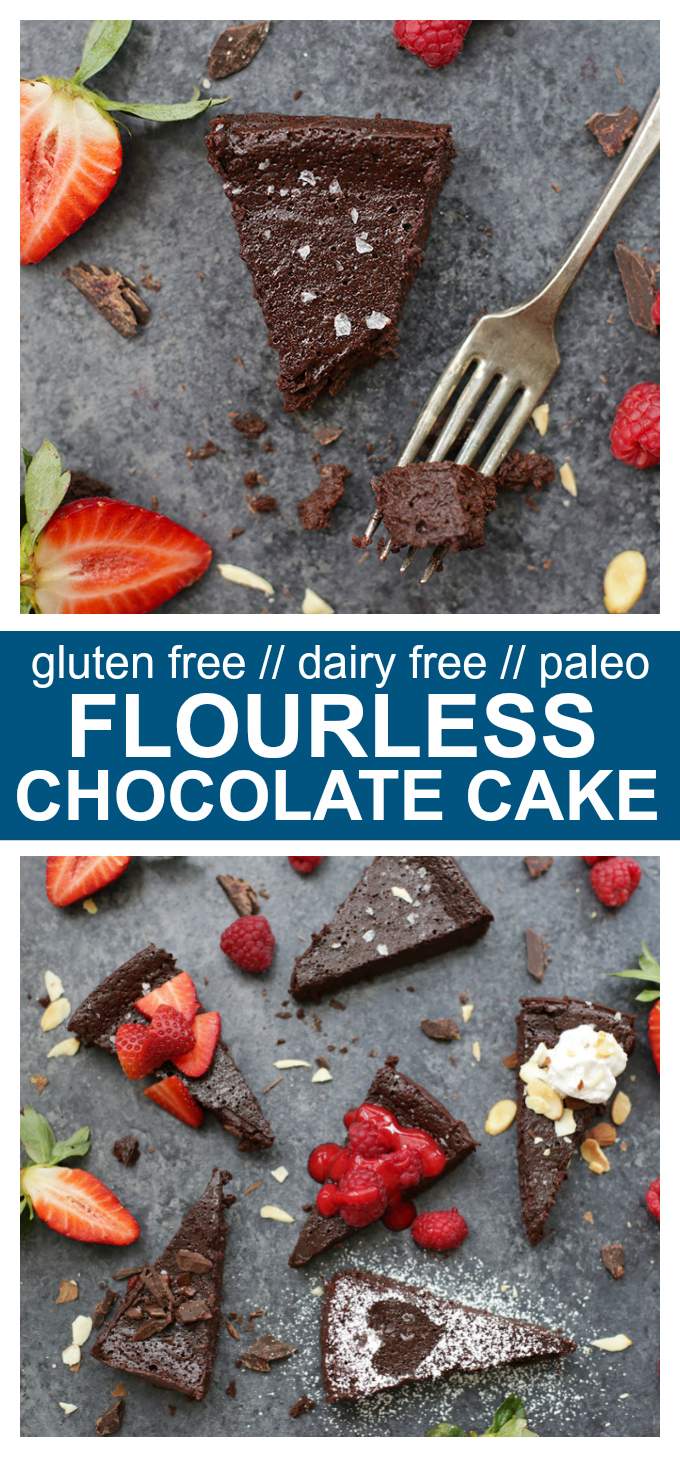 Flourless Chocolate Cake - This dense, perfectly rich chocolate cake is gluten free, dairy free, and naturally sweetened, but has all the indulgent decadence you're looking for on a special occasion. Pro tip: don't skip the raspberry sauce!