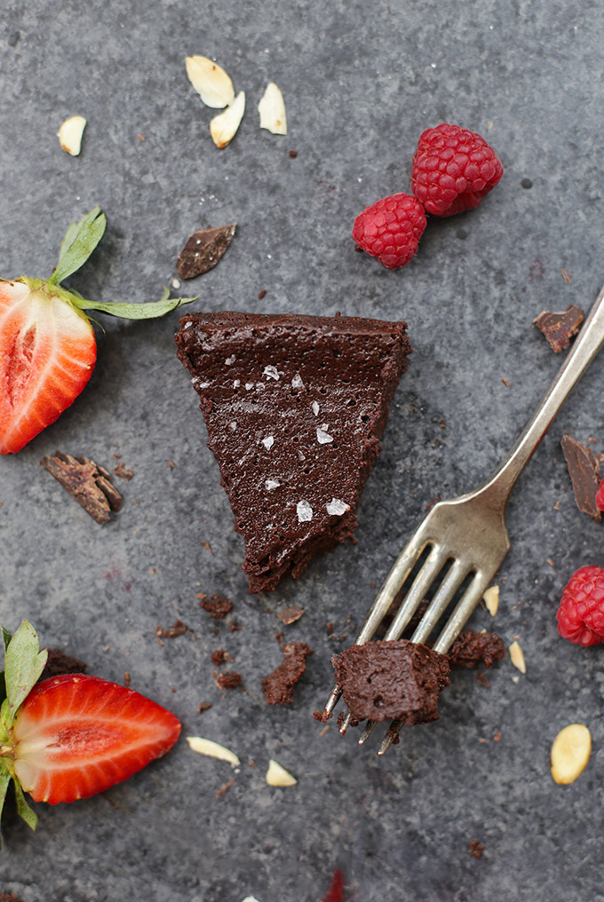 Dairy Free Flourless Chocolate Cake - You'd never believe a cake could be this chocolatey and rich without dairy!