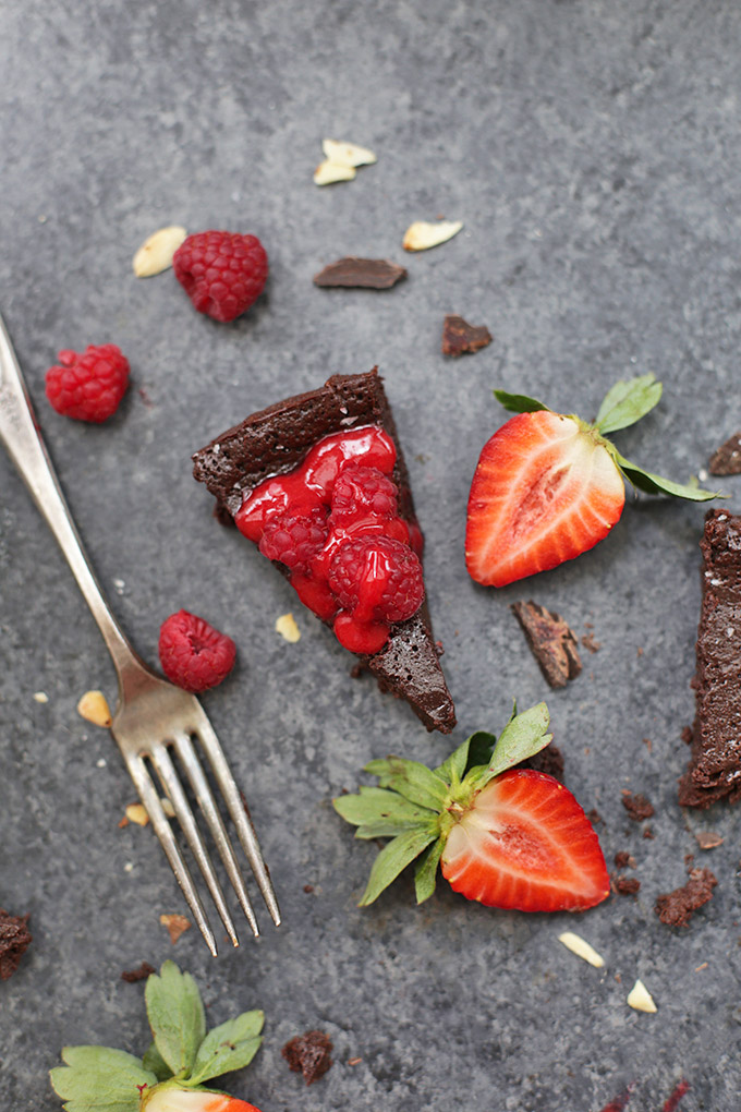 Dairy Free Flourless Chocolate Cake - This one is so perfect and easy! Don't skip the fresh raspberry sauce.