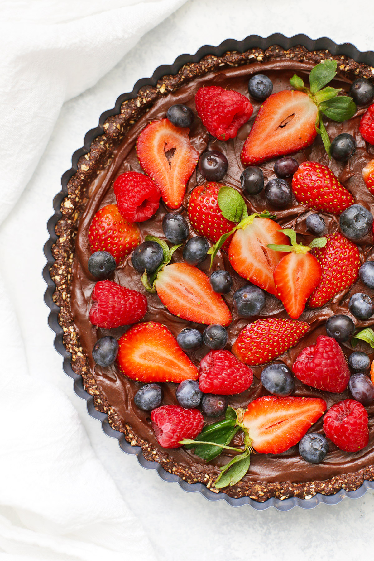 No Bake Chocolate Berry Tart from One Lovely Life