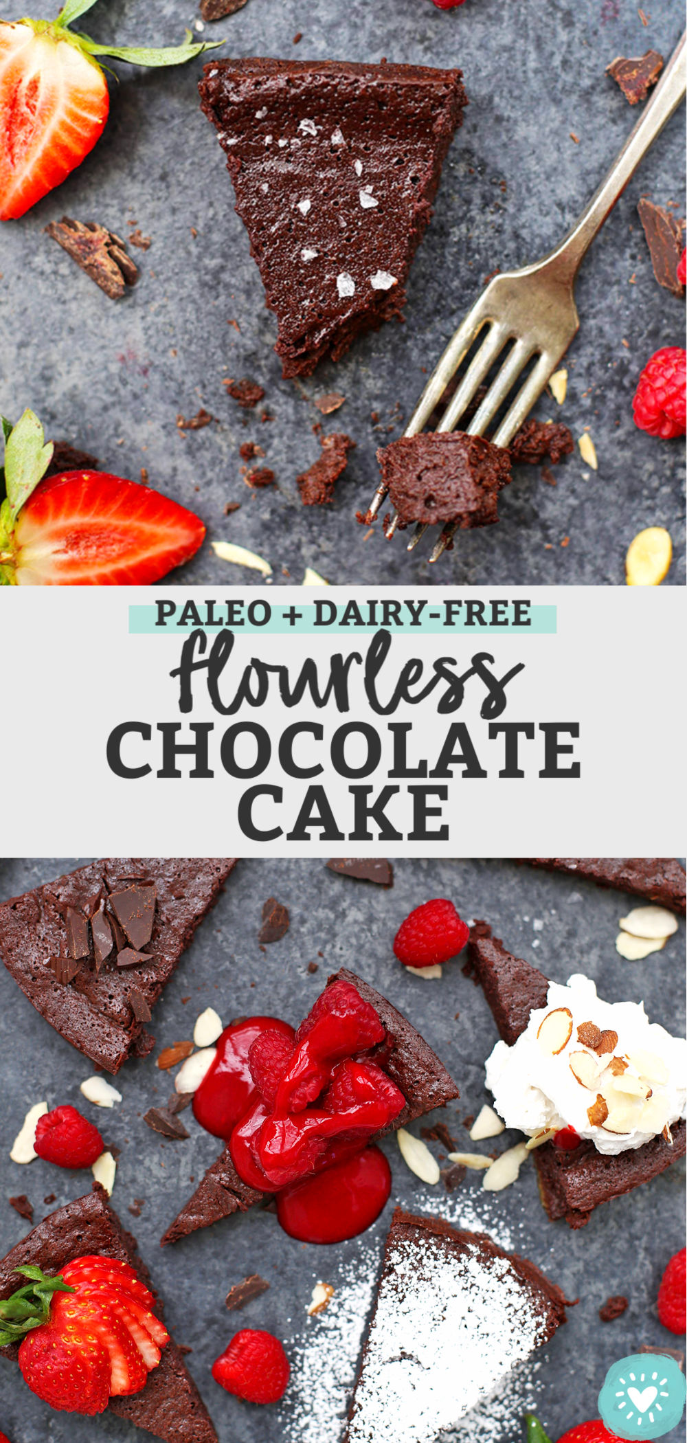 Dairy Free Flourless Chocolate Cake from One Lovely Life
