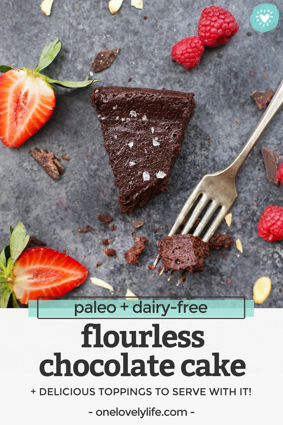 Flourless Chocolate Cake - This dense, perfectly rich chocolate cake is gluten free, dairy free, and naturally sweetened, but has all the indulgent decadence you're looking for on a special occasion. Pro tip: don't skip the raspberry sauce! // dairy free flourless chocolate cake recipe // paleo flourless chocolate cake // gluten free flourless chocolate cake // paleo chocolate cake // gluten free chocolate cake #flourlesschocolate cake #chocolatecake #valentinesday