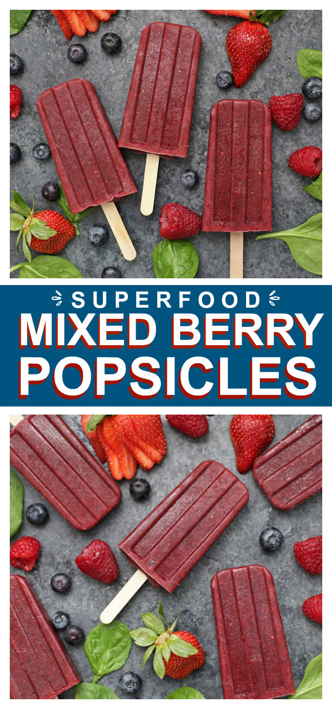 Superfood Very Berry Popsicles - These beautiful mixed berry popsicles are secretly loaded with superfoods! Naturally sweetened, kid-approved and perfect for a healthy treat or snack!
