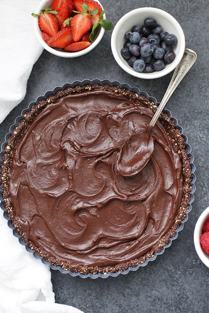 This Chocolate Berry Tart is a show-stopper. So pretty, but SO easy! (gluten free + vegan)