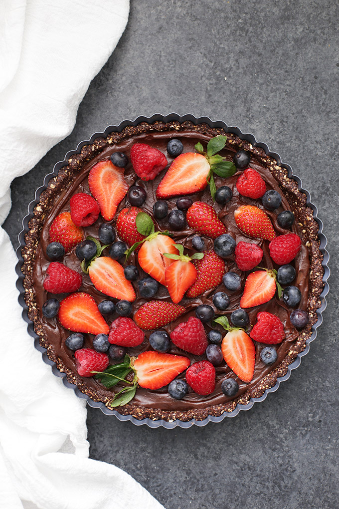 This Chocolate Berry Tart is maybe the prettiest dessert I've ever made. The perfect vegan and gluten free dessert!