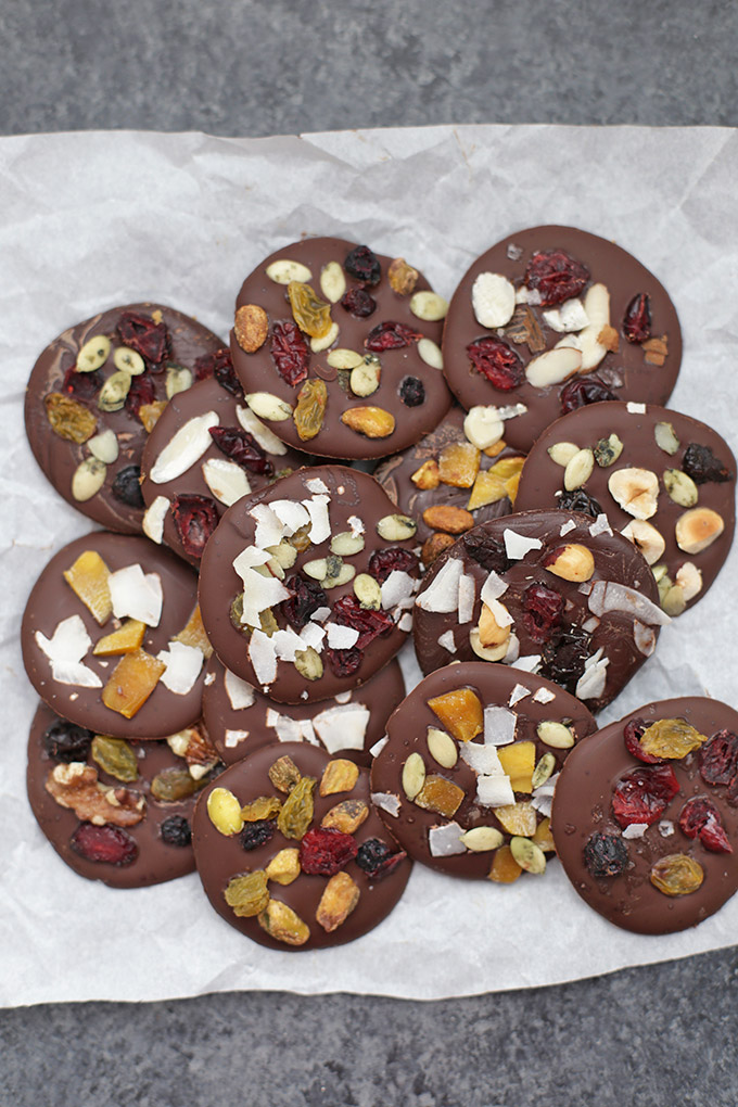 Trail Mix Chocolate Clusters - These are SO easy and delicious. Vegan and Paleo dessert done right!