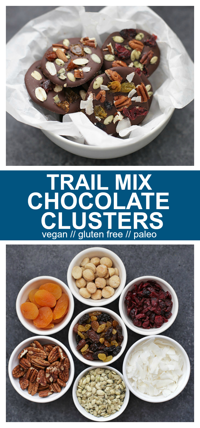 Trail Mix Chocolate Clusters - These easy-to-make treats are a great way to satisfy your sweet tooth without going overboard. Mix and match toppings to create new flavors!