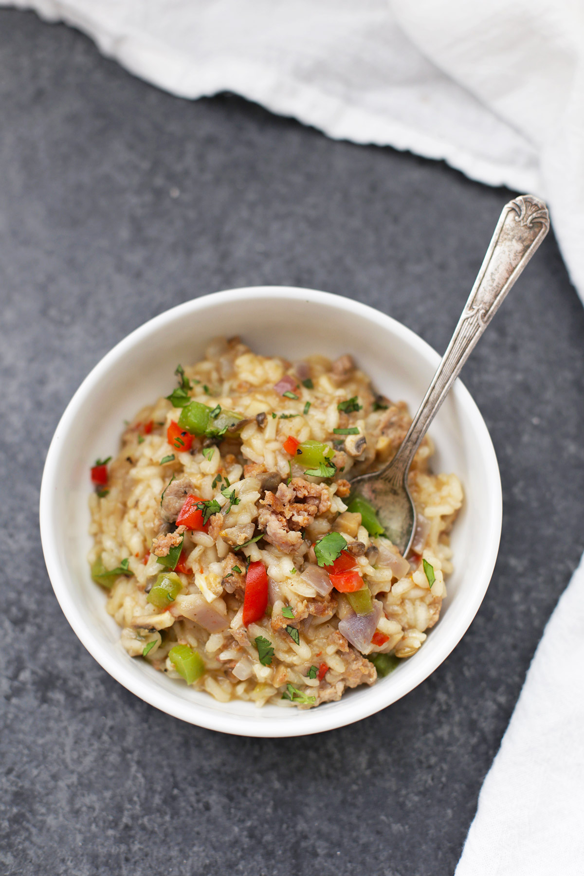 Risotto with Italian Sausage and Peppers. It's so flavorful and delicious! (dairy free + gluten free)