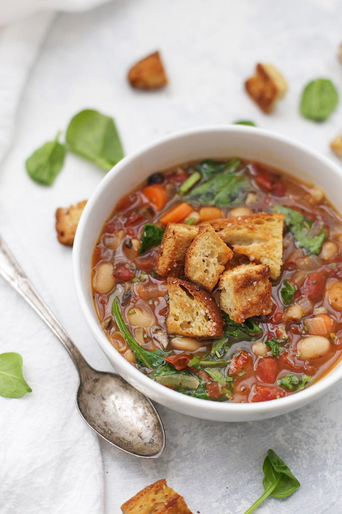Sun Dried Tomato White Bean Soup - This one is loaded with goodness and flavor. The perfect gluten free, vegan soup.