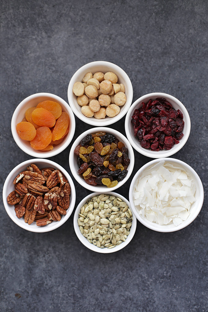 Trail Mix Ingredients all lined up and ready to be turned into Trail Mix Chocolate Clusters. These are so good!