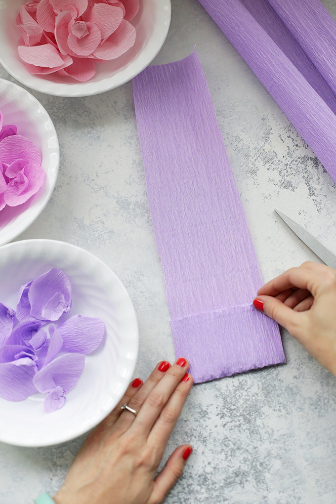 Folding strips of crepe paper into rectangles to cut out petals for paper wisteria