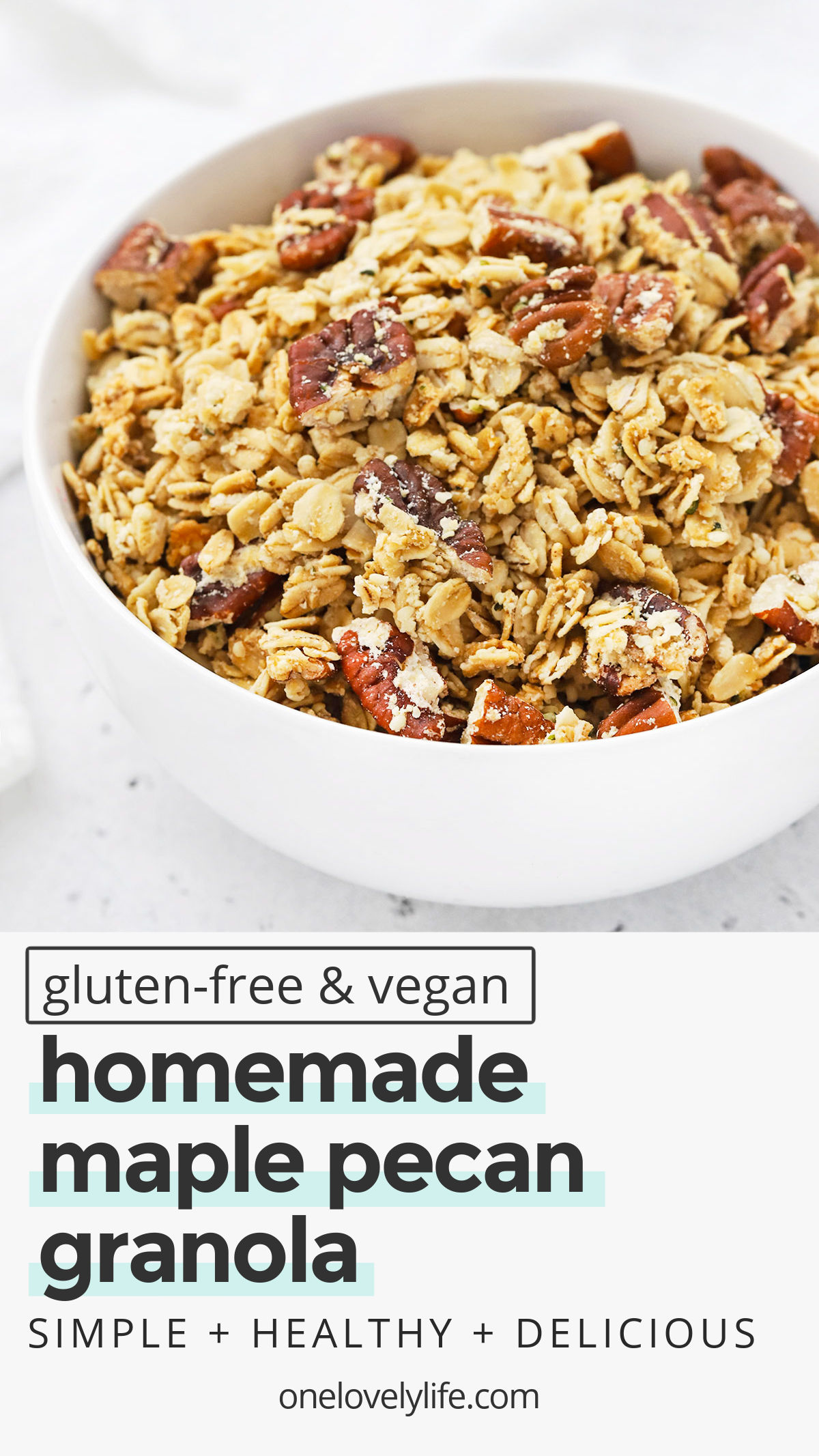 Maple Pecan Granola - This sweet and crunchy gluten-free granola is delicious with yogurt, sprinkled over a smoothie bowl, and munched on by the handful. Gluten free, vegan, and naturally sweetened! // Gluten-Free Granola Recipe // Pecan Granola // Healthy Breakfast // Vegan Breakfast // Homemade Granola // Healthy Granola #glutenfree #granola #vegan #maple #pecan #healthybreakfast