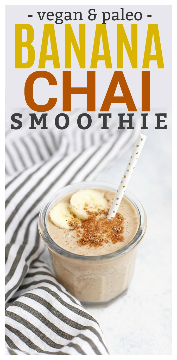 Banana Chai Smoothie - Theses chai spice banana smoothies are one of our FAVORITES! So good! (Vegan and paleo)