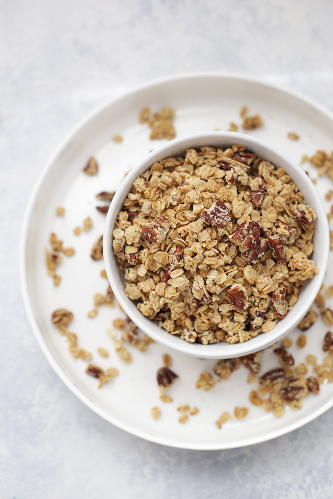 Maple Pecan Granola - Make a batch and your house will smell amazing! (gluten free + vegan!)