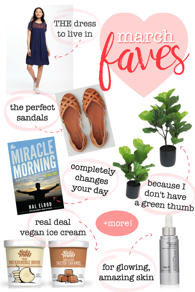 Monthly Faves - The dress and sandals I'm living in, the book that's changing my life, my favorite faux fiddle leaf, a skincare secret and MORE!