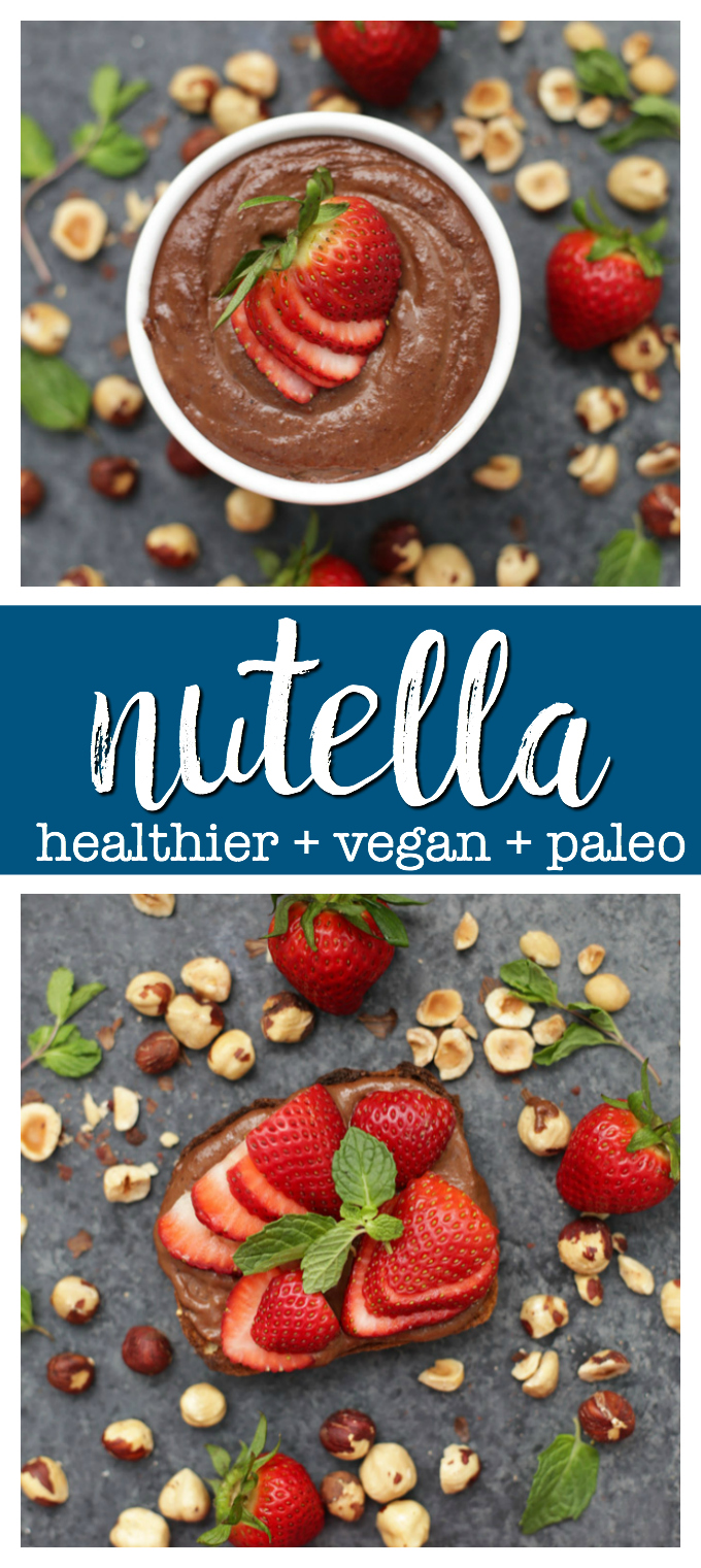 Healthy Vegan Nutella - Nutella is always a treat, but this one's made from healthier ingredients, plus no dairy or refined sugars! (Paleo, gluten free + vegan!)