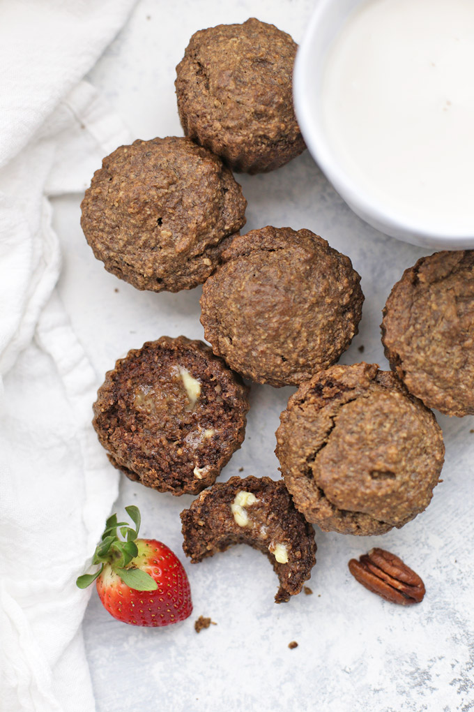 You'd never guess these Cinnamon Pecan Muffins are gluten free + vegan. Made from oats and pecans, they're amazing!