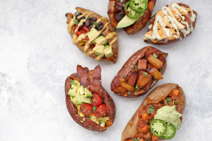 6 Amazing Ways to Stuff a Baked Sweet Potato - Baked Sweet Potatoes with all kinds of toppings, from paleo to vegan, and more!