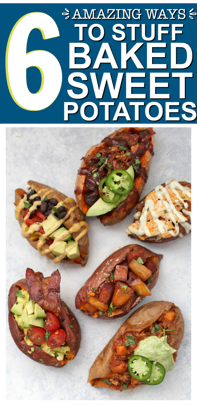 6 Amazing Ways to Stuff a Baked Sweet Potato - BBQ Pork, buffalo chicken, vegan taco, chili, and more!
