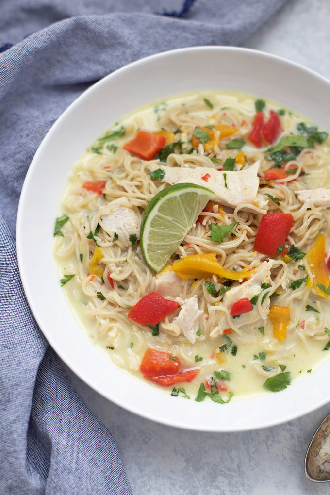 Easy Thai Curry Noodle Bowls - We love these with chicken, shrimp, or veggies. Gluten free and completely simple!