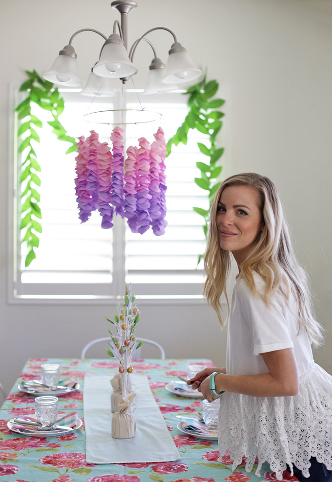 DIY Crepe Paper Wisteria - The perfect craft! It's easy, inexpensive, and beautiful!