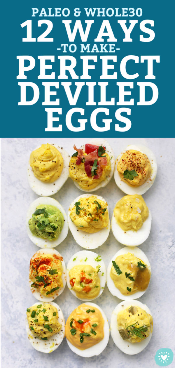 How to Make Perfect Deviled Eggs - My FAVORITE method for deviled eggs plus TWELVE delicious flavor combinations! All are paleo approved, gluten free, and absolutely delicious. // Paleo deviled eggs // the best deviled eggs recipe // deviled eggs no mayo // classic deviled eggs // perfect deviled eggs // 12 flavors of deviled eggs // #deviledeggs #hardboiledeggs #eggs #appetizers #paleo #glutenfree #potluck #picnic #barbecue