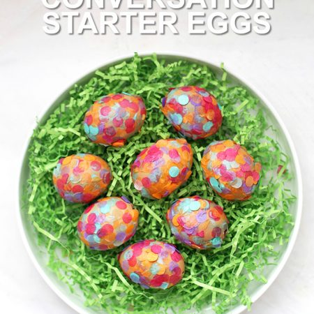 These Confetti Easter Egg craft makes the perfect Easter centerpiece. Each egg is stuffed with a surprise inside! (made with @happyeggcousa eggs)