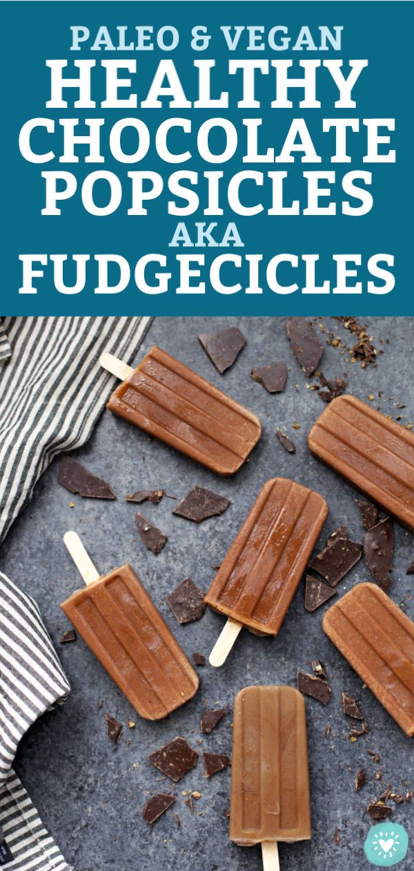 "Healthy Chocolate Popsicles with text overlay that reads ""Paleo & Vegan Healthy Chocolate Popsicles AKA Fudgecicles"""