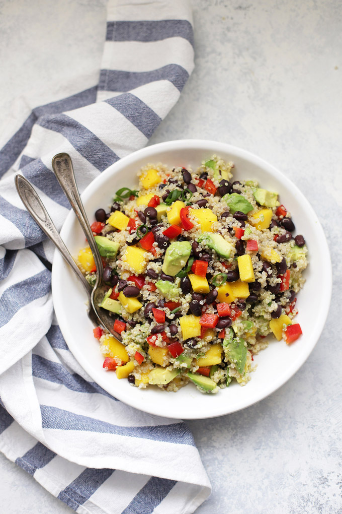 Confetti Quinoa Salad - Avocado, mango, bell pepper, and a fresh lime dressing. So good!