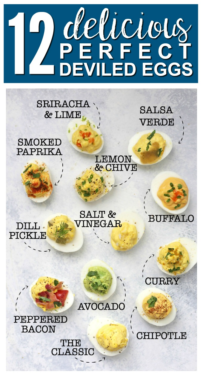 My Guide to Perfect Deviled Eggs - My FAVORITE method for deviled eggs plus TWELVE delicious flavor combinations! All are paleo approved, gluten free, and absolutely delicious.