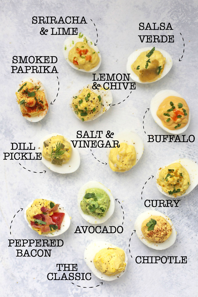 12 Different Paleo Deviled Eggs Labeled by flavor - Classic, Sriraracha and lime, salsa verde, smoked paprika, lemon and chive, salt and vinegar, buffalo, dill pickle, avocado, curry, peppered bacon, and chipotle