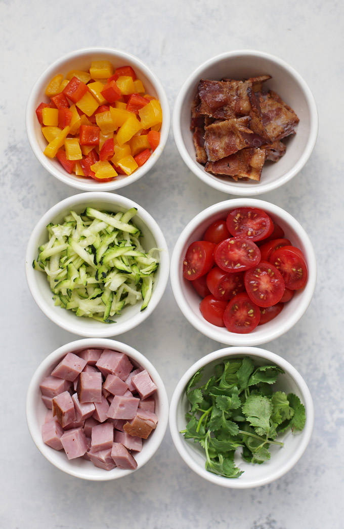 Fresh ingredients ready to be turned into Mini Quiche with Hash Brown Crust! SO GOOD! (gluten free, dairy free!)