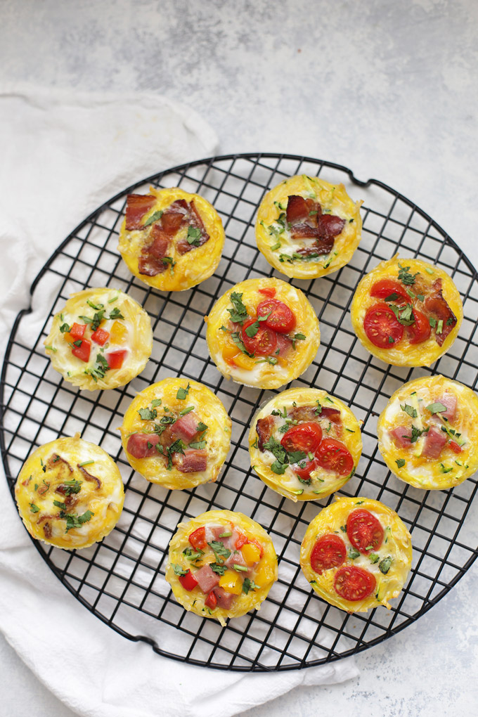 Mini Quiche with Hash Brown Crust - The perfect brunch or meal prep recipe! These fit almost any diet.