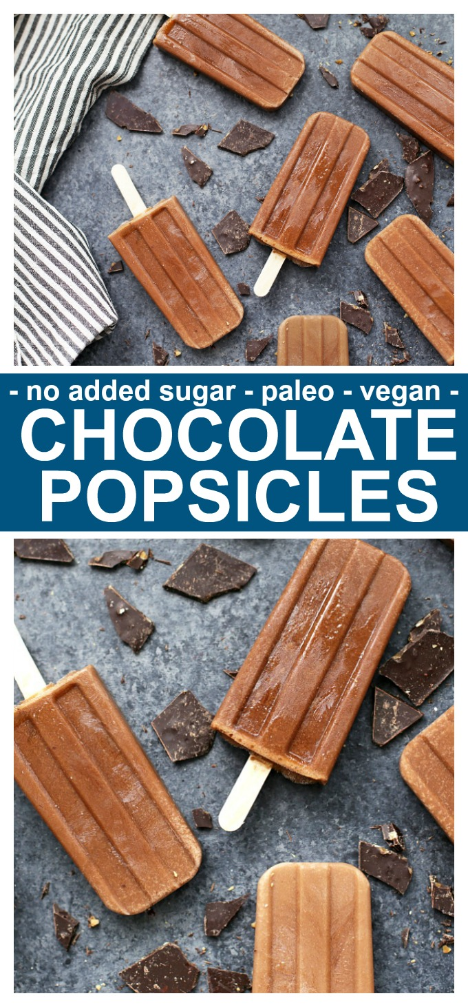 These Healthy Chocolate Popsicles are our FAVORITE! No added sugar, vegan, and paleo friendly! Plus, they taste so chocolatey and delicious!