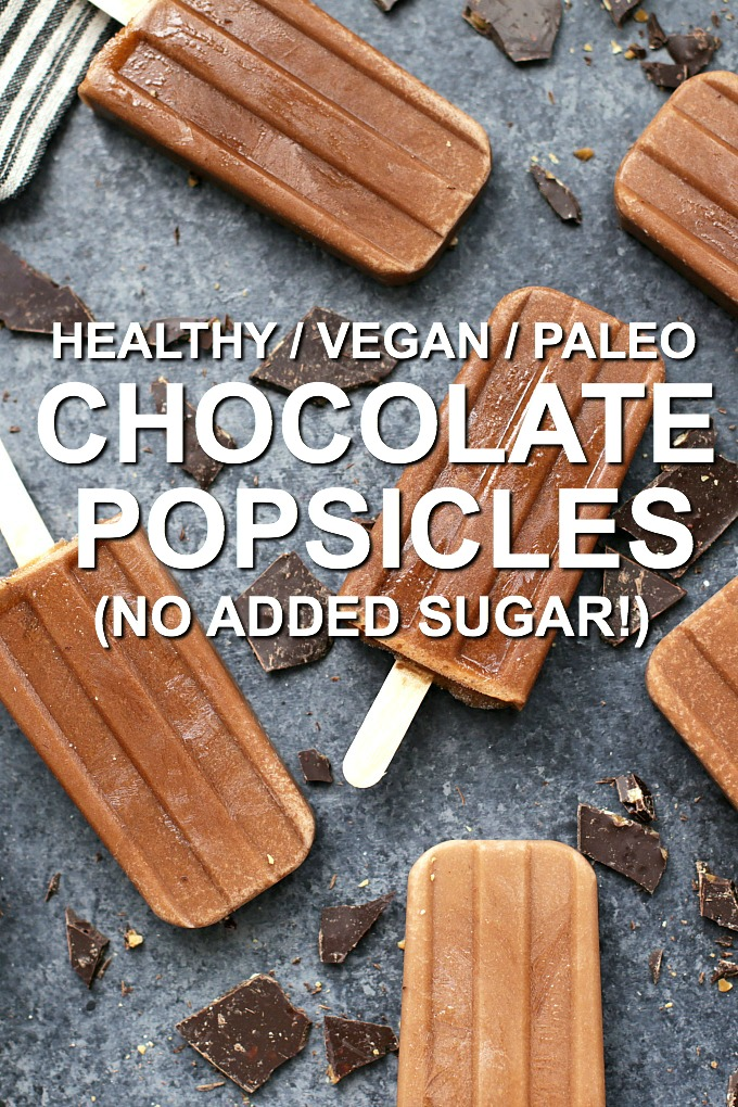 These Healthy Chocolate Popsicles are made from ALL good for you ingredients. You can feel good about eating them any time of day! (paleo, vegan, gluten free, dairy free!)