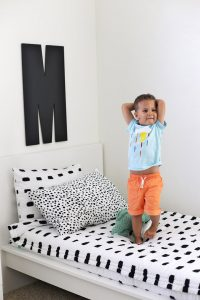 Milo's Big Kid Room! This black and white bedroom turned out so light and bright. We love it!