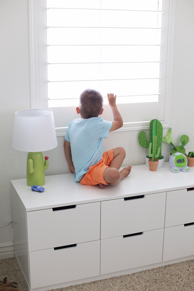 This low dresser doubles as a window seat bench, perfect for playing, sitting, and more!